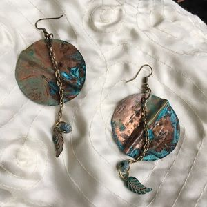 Hand hammered real copper disk earrings